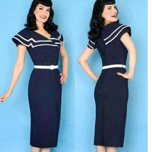 Bettie Page Sailor Dress Blule and White XXL NEW
